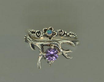 Antler 2 with Alexandrite. Alexandrite ring, twig ring, antler ring, alternative engagement ring, wedding ring, opal band, leaf ring,