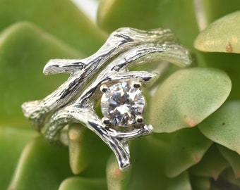 Branch Hugl Ring, Twig Branch Band, Alternative Wedding Ring, Engagement Ring, twig engagement ring, stacking ring, moissanite twig ring,
