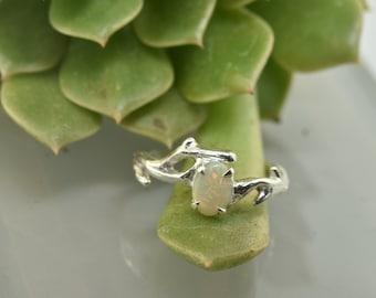 Australian opal, opal engagement ring, stacking ring,branch ring, branch band, twig ring, elvish engagement ring, opal ring