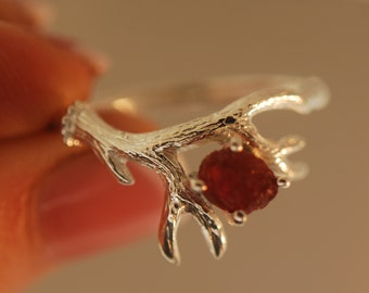 Antler Ring 2 with Raw Ruby,  rough ruby ring, alternative engagement ring, twig ring, twig ruby ring, antler ring