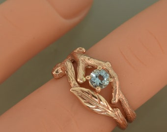 Leaf engagement set, twig ring, gold leaf engagement ring, aquamarine leaf ring, aquamarine ring, engagement ring, alternative wedding ring