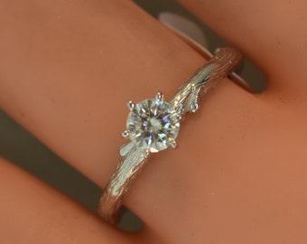 Bud Branch ring, alternative engagement ring, moissanite twig ring, engagement ring, diamond ring, twig engagement ring, branch band