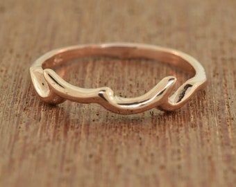 Stacking Ring, Rose Gold Ring, twig branch, thorn branch, white gold ring, sterling ring, layered ring, twig band, 14k stack band,
