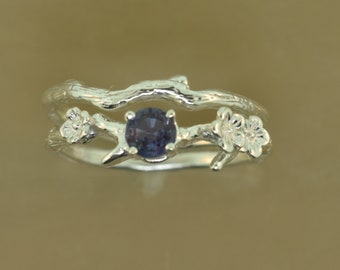 Cherry Blossom Branch, engagement ring, alternative engagement ring, branch ring, twig ring, elvish engagement ring, flower ring set.