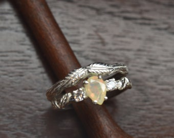 stacking ring,leaf ring, alternative engagement ring, engagement ring, branch ring, opal ring, twig ring, elvish engagement ring, opal ring