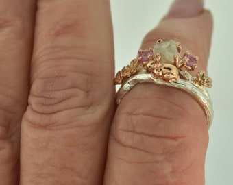 Some Bunny to Love,rose gold ring, twig ring, branch ring, bunny ring, rabbit ring, alternative engagement ring, wedding band,