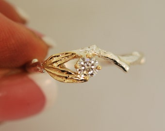 Silver and gold engagement ring, moissanite engagment ring, leaf engagement ring, gold leaf engagement ring,