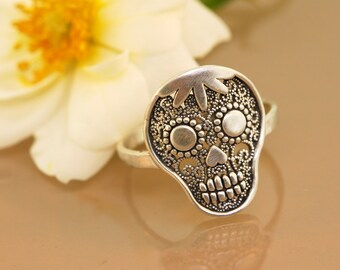 Sugar Skull Filigree Ring