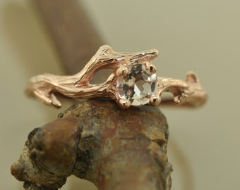 Morganite twig ring,Twig engagement ring, morganite ring, alternative engagement ring, rose gold ring, branch engagement ring, elvish ring