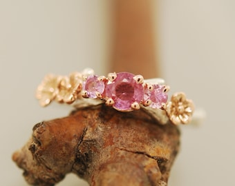 Cherry Branch Triple Stone Ring,rose gold ring, sterling ring, sapphire ring, pink sapphire ring, twig ring, alternative wedding ring,