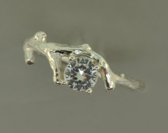 Bud Branch with White Sapphire,Twig Ring,Engagement Ring,Vine Ring,SterlingTwig Ring,Branch Ring,stack ring, stacking ring, layered ring