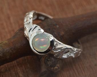 engagement ring, leaf engagement ring, alternative engagement ring, ginkgo ring, branch leaf ring, opal ring,  engagement ring