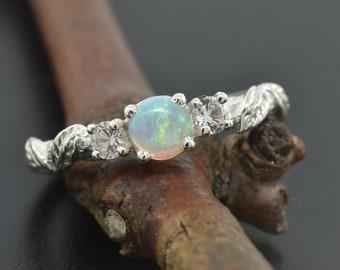leaf engagement ring, alternative engagement ring, engagement ring, branch ring, branch band, twig ring, elvish engagement ring, opal ring