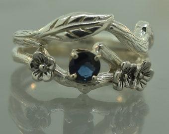 Engagement ring, cherry blossom, leaf engagemnt ring, alternative engagement ring, teal sapphire ring, leaf engagement ring, flower ring,