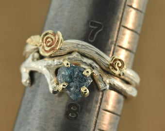 Bud Branch with blue rough diamond,rough diamond ring,alternative engagement ring, twig ring, twig diamond ring, antler ring,rawstonering