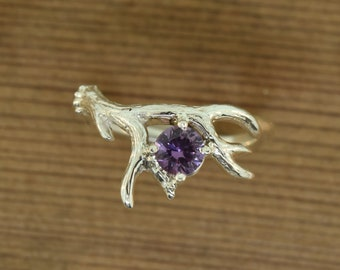 Antler 2 with Alexandrite. Alexandrite ring, twig ring, antler ring, alternative engagement ring, wedding ring,