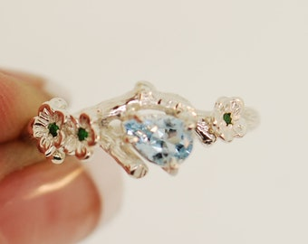 Aquamarine twig ring, twig engagement ring, alternative engagement ring, aquamarine ring, engagement ring, cherry blossom ring,