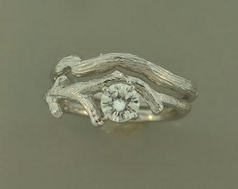 white gold ring, engagement ring, twig ring, alternative engagement ring, moissanite ring,branch ring, moissanite twig ring, wedding rings