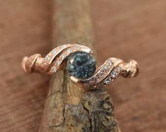 engagement ring, alternative engagement ring, leaf engagement ring, branch ring, twig ring, Montana sapphire, diamond twig ring
