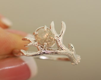 Antler Ring 2 White Gold with Rough Diamond, Alternative Engagement Ring, Twig Diamond Ring
