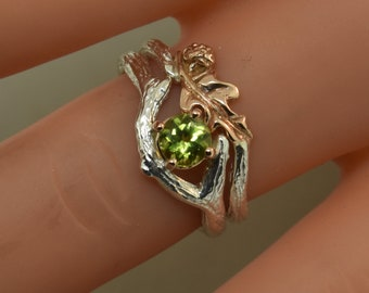 Oak Leaf Branch Ring,stack ring,twig ring,branch ring,alternative engagement ring,wedding ring, gold twig ring, acorn ring, peridot ring,
