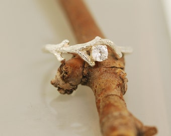 Bud Branch with White Sapphire,Twig Ring,Engagement Ring,Vine Ring,SterlingTwig Ring,Branch Ring,
