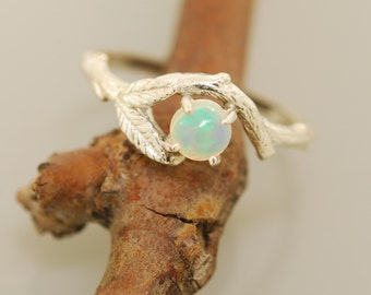 leaf engagement ring, alternative engagement ring, engagement ring, branch ring, branch band, twig ring, elvish engagement ring, opal ring