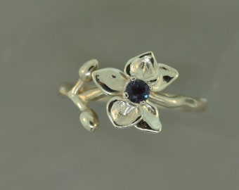 Orchids make me Happy, flower ring, alexandrite ring, silver orchid ring, blue topaz ring, birthstone ring, flower birthstone ring,