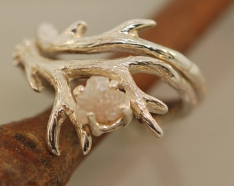 Antler Ring 2 Set with Raw Diamond, Rough Diamond Ring, Alternative Engagement Ring, Twig Ring with Diamond