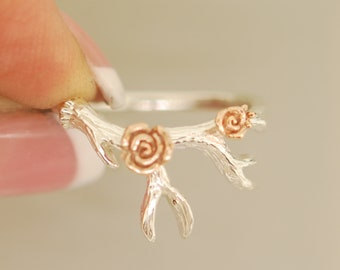 Antler 2 with Roses, sterling silver, 14 karat rose gold, antler ring, twig ring, alternative engagement ring