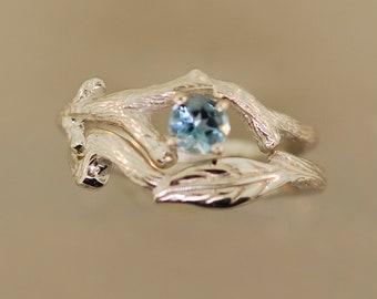 Leaf engagement set, twig ring, gold leaf engagement ring, aquamarine leaf ring, aquamarine ring, engagement ring, alternative wedding ring