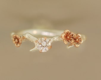 engagement ring,  alternative engagement ring, twig engagement ring, cherry blossom ring, branch ring, twig ring, branch ring,