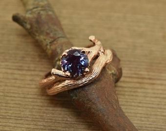 bud branch ring, Chatham Alexandrite, Alexandrite gold ring, Twig ring, gold branch ring, elvish ring, alternative engagement ring, 14k ring