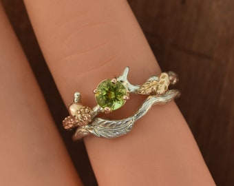 Oak Leaf Branch Ring,stack ring,twig ring,branch ring,alternative engagement ring,wedding ring, gold twig ring, acorn ring, peridot ring,