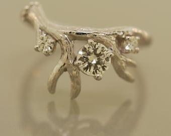 Antler Ring 2 three stone ring,moissanite,moissanite ring,alternative engagement ring, twig ring, twig diamond ring, antler ring