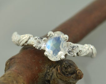 Moonstone leaf ring, oval moonstone ring, white sapphire ring, 3 stone ring, alternative engagement ring, leaf ring,