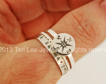 Latitude and Longitude Compass Ring Stack Set