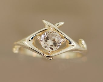 Criss Cross Antler with White Sapphire, alternative engagement ring, antler ring, twig ring,