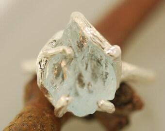 Twig ring, Raw Aquamarine Ring, Rough Stone Ring,silver twig ring, raw stone ring, Aquamarine Ring