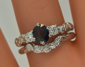 teal sapphire, engagement ring,leaf engagement ring, leaf engagement ring, sapphire branch ring, teal sapphire, blue green sapphire,