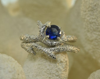Sapphire coral ring, coral ring, sapphire ring,  Sapphire ring, coral branch, alternative engagement ring, stack ring, twig ring,