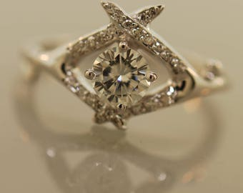 Criss Cross Antler with Pave Diamonds and Forever One Moissanite,  alternative wedding ring, engagement ring, moissanite ring, diamond ring