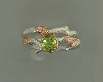 Leaf Branch Ring,stack ring,twig ring,branch ring,alternative engagement ring,wedding ring, gold twig ring, acorn ring, peridot ring,