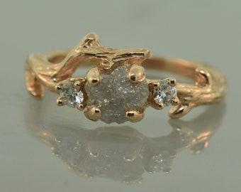 Elegant Twig,Stacking ring, Raw Stone Ring, Branch Alternative Engagement Ring, Raw Stone Ring,rosegold ring, 3stone ring, twig ring,