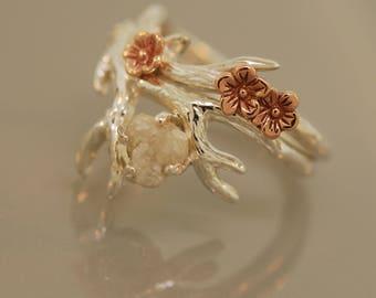 Antler Ring 2 , Alternative Engagement Ring, Gold Twig Ring, Raw Diamond Antler ring