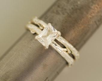 Twig engagement ring, alternative engagement ring, engagement ring, branch ring, twig ring, white sapphire ring, elvish engagement ring