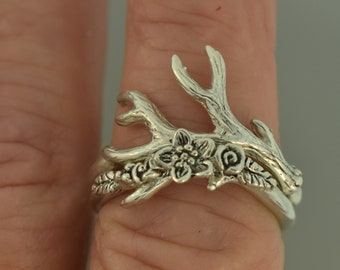 Antlerr 2, flower band, twig band, alternative engagement ring, antler engagement ring, leaf engagement ring, flower engagement ring,
