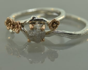 Bud branch with blossoms, twig engagement ring, alternative engagement ring, engagement ring, raw diamond ring, rose gold ring