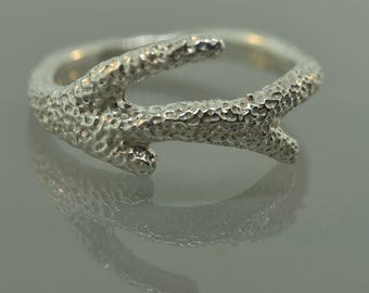 Reef Coral Branch Ring, alternative Wedding Ring, Branch Ring, Twig Ring, ocean. silver coral ring, man band,
