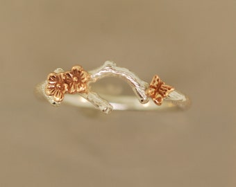 Cherry Blossom Branch with Butterfly, sterling silver, rose gold, branch ring , twig ring,